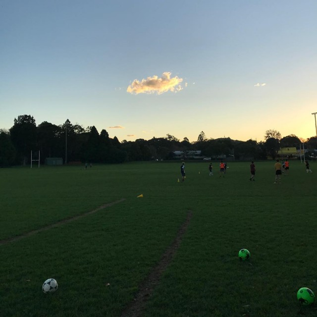 Early sunsets soccertraining winteriscoming nature play bellingen football