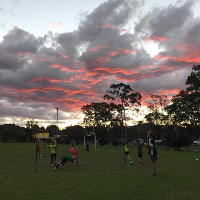 Pink clouds and sunset soccer training nature beauty connection playhellip